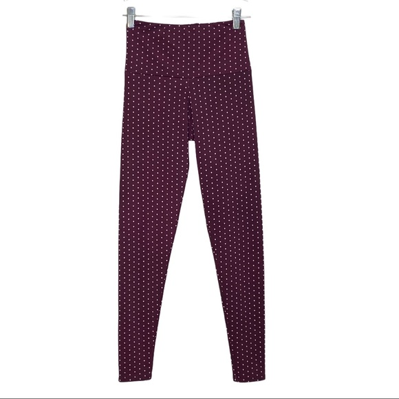 Onzie Leggings Purple White Polka Dot Hot Yoga